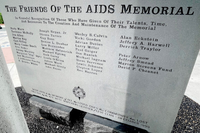 List of friends carved into the Key West AIDS memorial plaque.